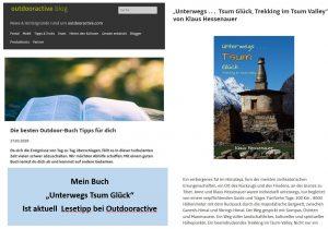 """""""Unterwegs Tsum Glück Trekking im Tsum Valley"""" wird aktuell vom größten Outdoorportal Europas Outdooractive.com empfohlen. Mehr auf der Seite zum Buch: Tsum Valley"""